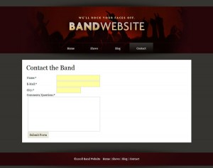 Useful contact form for your fans