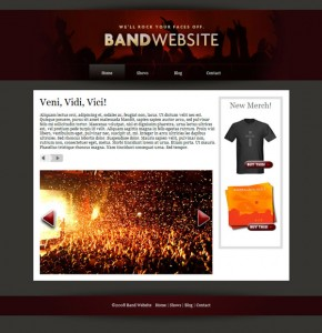 Home page of the band website