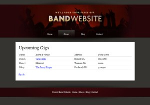 The shows page with links to venues and booking agents