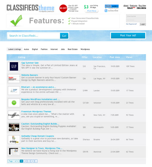 Classifieds Theme. Simple layout. Maximum Profit