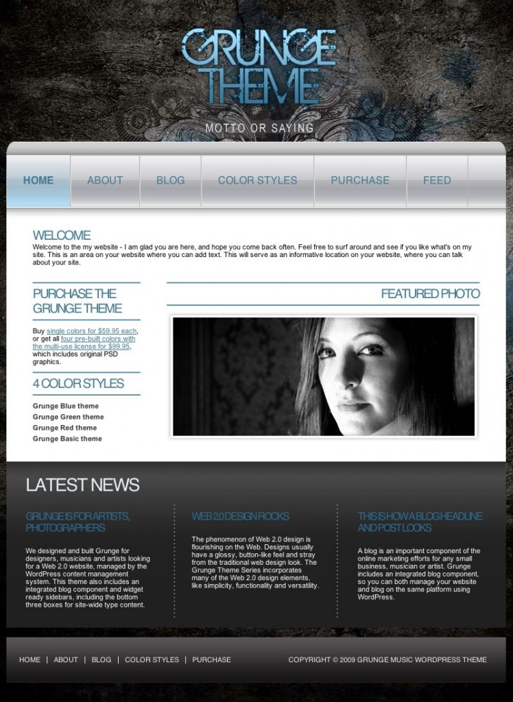 Grunge Theme Home Page